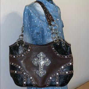 Montana West Cross Rhinestone Shoulder Bag